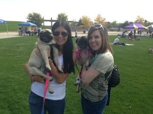 Debra and Pork Chop with their friend Katie at Pugs in the Park.
